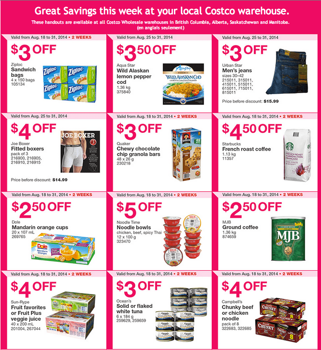 Costco West 11 Costco Canada Weekly Instant Handouts Coupons For British Columbia, Alberta, Saskatchewan & Manitoba, August 25 To August 31, 2014