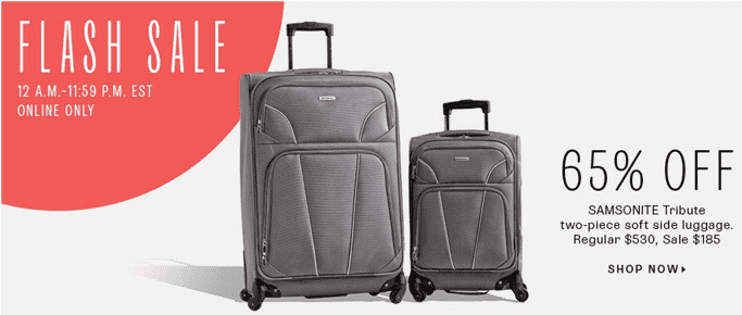 Hudsons Bay Canada Flash Sale Hudsons Bay Canada Flash Sale: Save 65% Off Samsonite Tribute 2 Piece Soft Side Luggage, Now For Just $185 + Extra 2 Discount Coupon Codes!