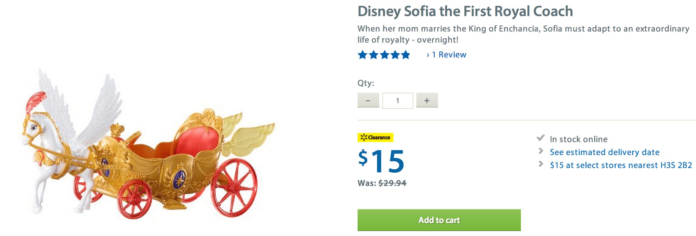 Screen Shot 2014 08 21 at 11.25.52 AM Walmart Canada Online Deals: Disney Sofia the First Royal Coach $15 + FREE Shipping!