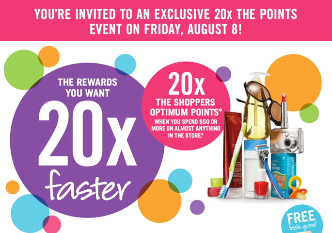 Shoppers Drug Mart Coupon  Shoppers Drug Mart Canada Printable Coupons: Get 20x the Points when You Spend $50 This Friday!