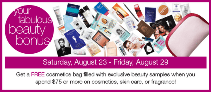 Shoppers Drug Mart Offers Shoppers Drug Mart Offers: Get FREE Beauty Cosmetics Bag with Beauty Samples when You Spend $75 on Cosmetics, Skin Care or Fragrances!