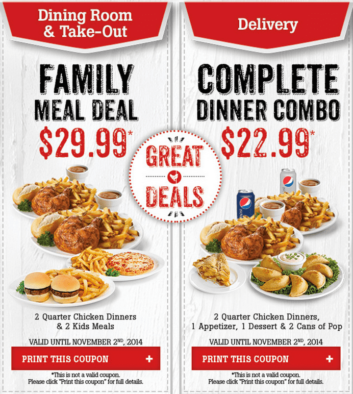 Family meals coupons