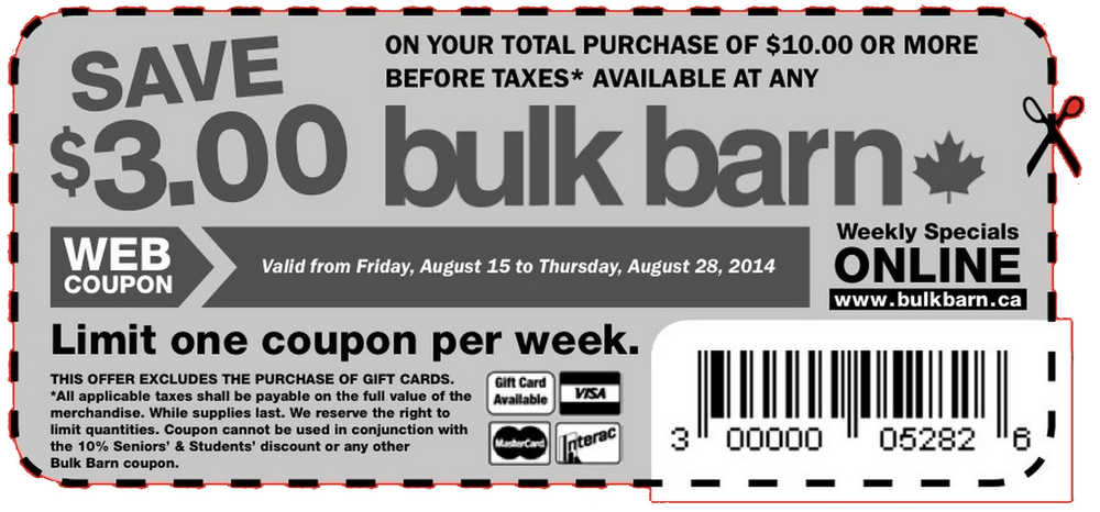 bulk barn coupon Bulk Barn Printable Coupons: Save $3 off Your Total Purchase Of $10 This Weeks Bulk Barn Flyer