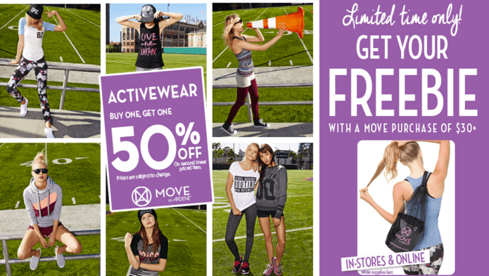 z1409084386 small Ardene Canada Sale + Freebie: Buy 1 Activewear & Get 1 For Just 50% Off + Get Your FREE Bag with A Move Purchase of $30+!