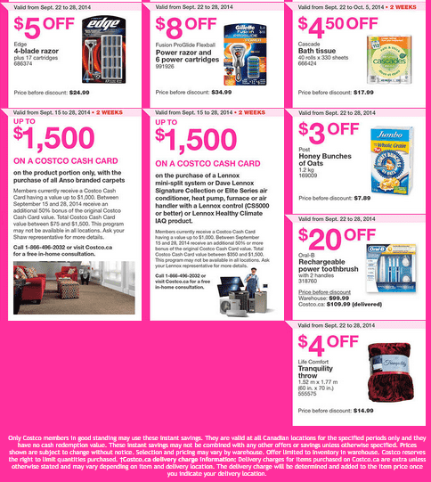 Costco e 22 Costco Canada Weekly Eastern Instant Handouts Flyers: Ontario, Quebec & Atlantic Provinces, Tuesday, September 8 Until Sunday, September 28, 2014