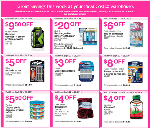 Costco w 12 Costco Canada Weekly Instant Savings Handouts Flyers For British Columbia, Alberta, Saskatchewan & Manitoba From Tuesday September 15 Until Sunday, September 28, 2014