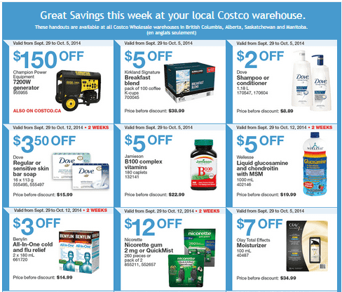 Costco w 13 Costco Canada Weekly Instant Savings Handouts Flyers For British Columbia, Alberta, Saskatchewan & Manitoba From Monday September 29 Until Sunday, October 5, 2014