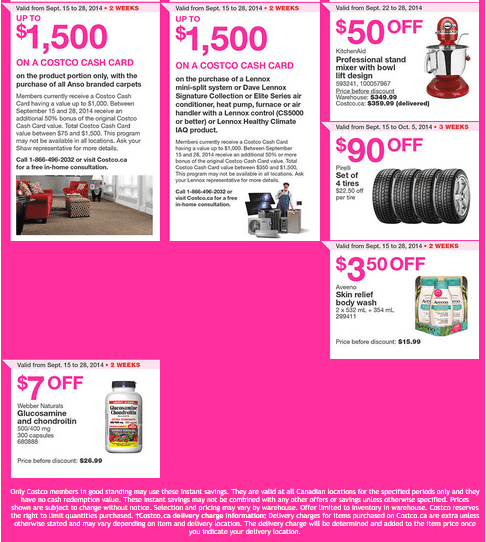 Costco w 2 Costco Canada Weekly Instant Savings Handouts Flyers For British Columbia, Alberta, Saskatchewan & Manitoba From Tuesday September 15 Until Sunday, September 28, 2014