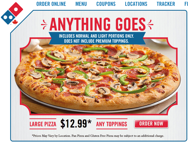 Check other third-party discount sites for Domino's coupon codes. You can reveal them at these sites and then enter them on the Domino's ordering page in the promo code box. Domino's Shipping Policy. Customers interested in ordering pizza can either opt for delivery or carryout.