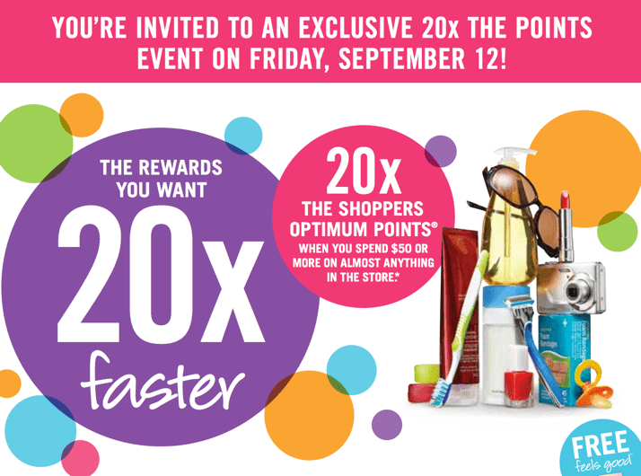SDM Coupons Shoppers Drug Mart Canada Printable Coupons: Get 20x The Shoppers Optimum Points with Your $50 Purchase On Almost Anything!