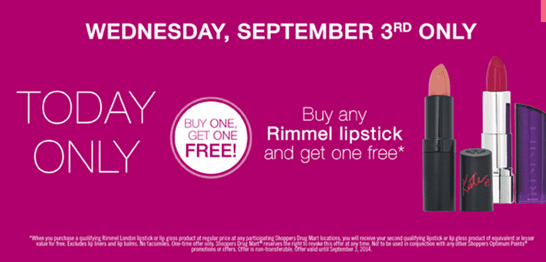 Shoppers Drug Mart BOGO FREE Shoppers Drug Mart Canada Promotions: Buy Any Rimmel London Lipstick or Lip Gloss and Get One FREE, Today Only!