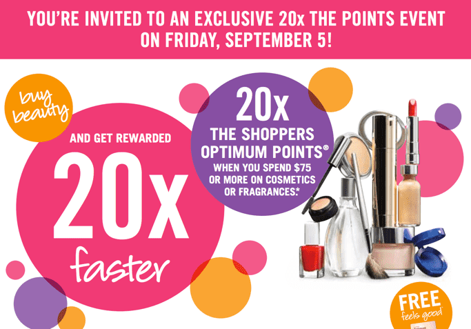 Shoppers Drug Mart Canada Deals Shoppers Drug Mart Canada Optimum Points Offers: Spend $75 or more on Cosmetics or Fragrances & Get 20x the Shoppers Points!