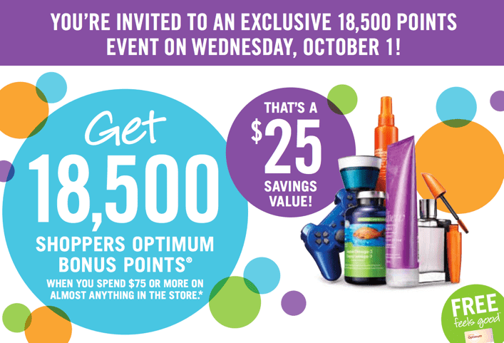 Shoppers Drug Mart Canada Printable Coupons1 Shoppers Drug Mart Canada Printable Coupons: Get 18,5000 Shoppers Optimum Bonus Points when You Spend $75 on Almost Anything!