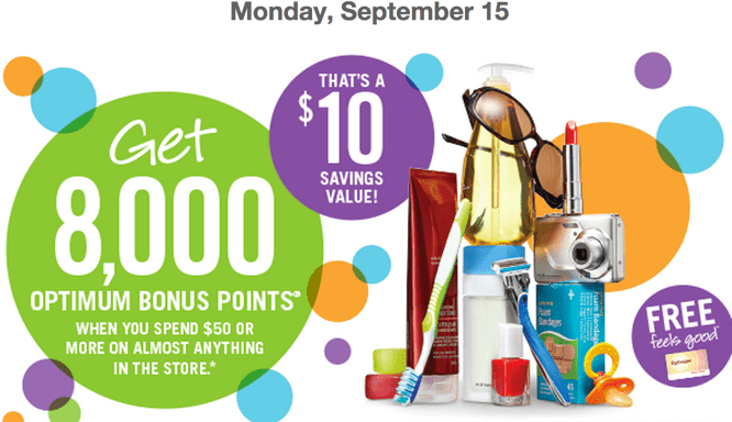 Shoppers Drug Mart Deals Shoppers Drug Mart Canada Printable Coupons: Get 8,000 Optimum Bonus Points (That's a $10 Savings Value) when You spend $50 On Anything!