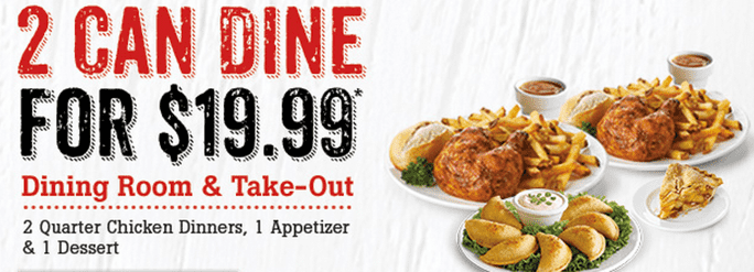 Swiss Chalet Canada Deals Swiss Chalet Canada 60th Anniversary Deals: Two Can Dine For $19.99 and Delivery Meal Deal For $22.99! 11 Days Only