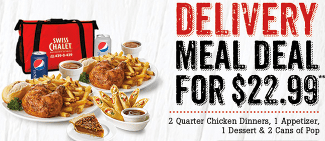 Swiss Chalet Canada Offers Swiss Chalet Canada 60th Anniversary Deals: Two Can Dine For $19.99 and Delivery Meal Deal For $22.99! 11 Days Only