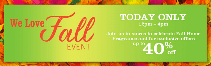 z1411221265 small Bath & Body Works Canada Fall Event Deals: Save Up to 40% Off Your Purchase From 12PM to 4PM Today Only & More!
