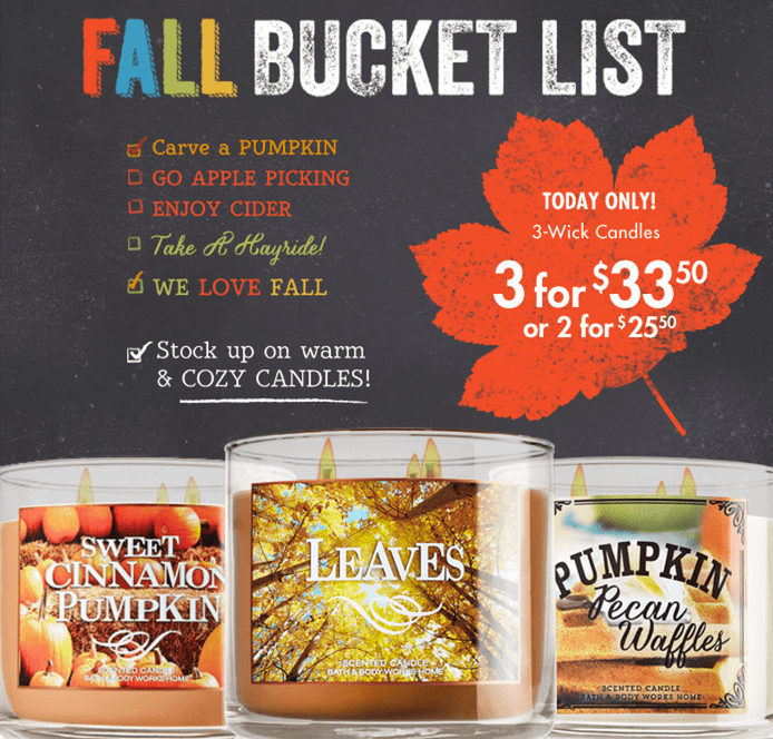 z1411221289 small Bath & Body Works Canada Fall Event Deals: Save Up to 40% Off Your Purchase From 12PM to 4PM Today Only & More!