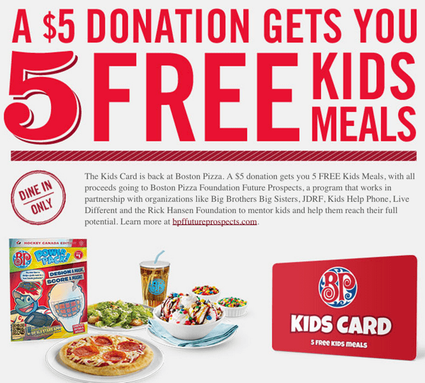 z1411418752 small Boston Pizza Canada Offers: A $5 Donation Gets You 5 FREE Kids Meals!