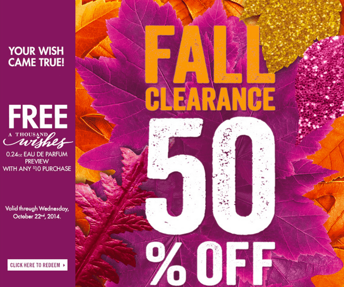 Bath Body Works Canada Deals Bath & Body Works Canada Promotional Coupons: FREE A Thousand Wishes 0.24oz Eau de Parfum Preview with Any $10 Purchase!