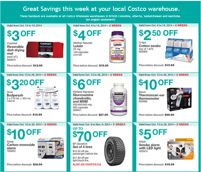 Costco w 1 Costco Canada Weekly Instant Savings Handouts Flyers For British Columbia, Alberta, Saskatchewan & Manitoba From Monday October 6 Until Sunday, October 19, 2014