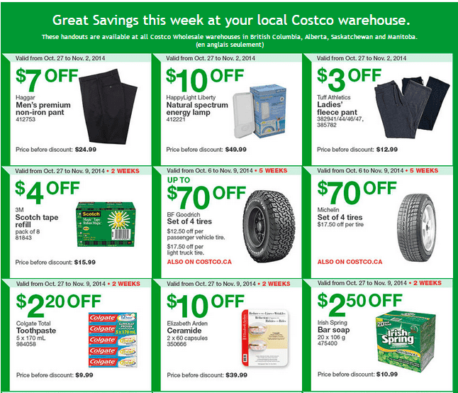 Costco w 12 Costco Canada Weekly Instant Savings Handouts Flyers For British Columbia, Alberta, Saskatchewan & Manitoba From Monday October 27 Until Sunday, November 2, 2014
