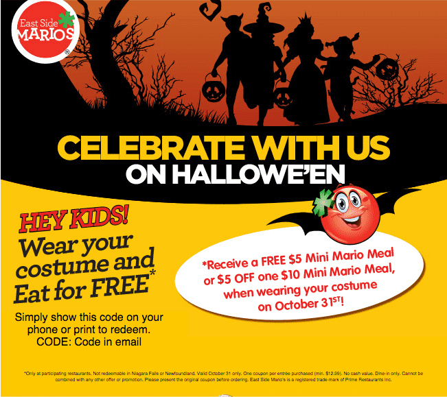 East Side Marios East Side Marios Canada Halloween Promotions: Get A FREE $5 Mini Mario Meal or $5 Off One $10 Mini Mario Meal!