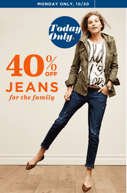 Old Navy Canada Online Offers Old Navy Canada Online Offers: Save 40% Off Jeans for the Family and More Today Only!
