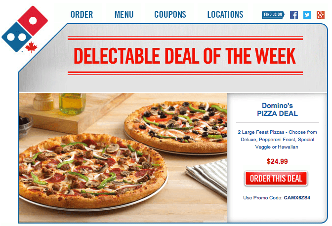 Domino's pizza canada coupon code 2018