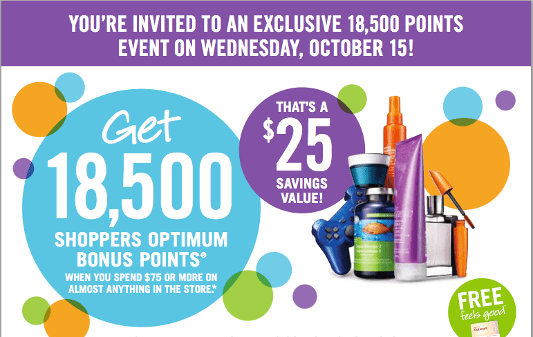 Screen Shot 2014 10 14 at 11.45.25 PM Shoppers Drug Mart Canada Printable Coupons: Get 18,5000 Shoppers Optimum Bonus Points when You Spend $75 on Almost Anything!