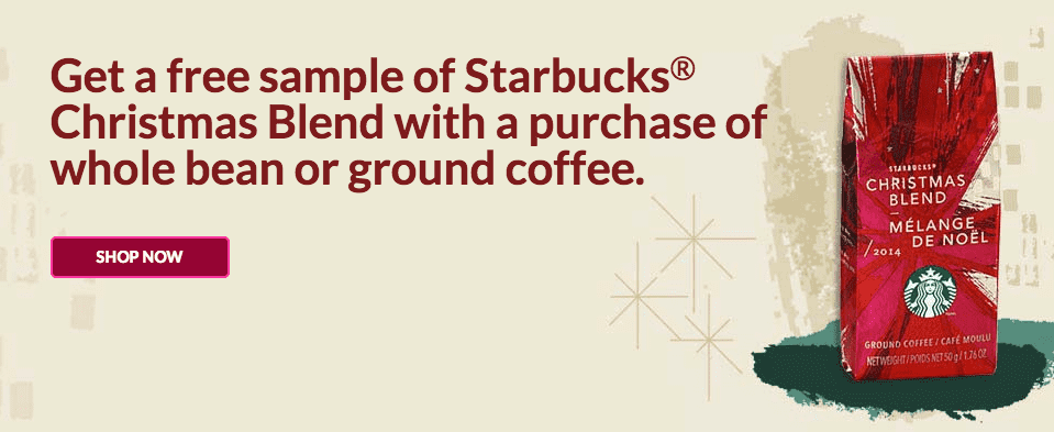 Screen Shot 2014 10 19 at 10.19.51 PM Starbucks Canada Freebie Deal: Get A FREE Sample of Starbucks Christmas Blend with a Purchase!