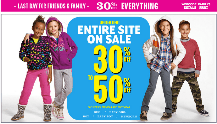 Screen Shot 2014 10 19 at 7.17.25 PM The Childrens Place Canada Offers: Get 30% to 50% Off Entire Site + FREE Shipping!