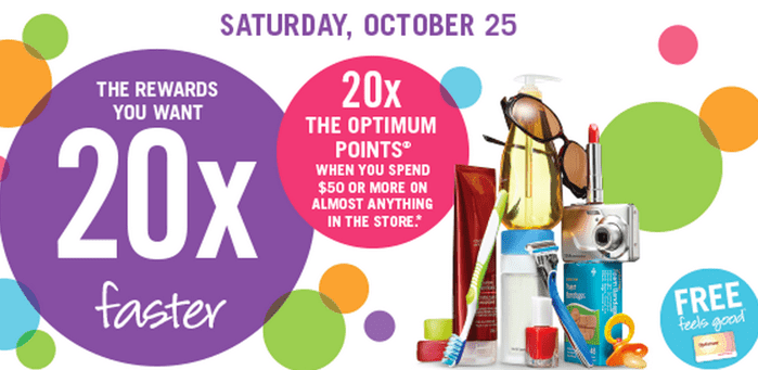 Shoppers Drug Mart Canada Offers1 Shoppers Drug Mart Canada Offers: Get 20X the Shoppers Optimum Points when You Spend $50 or More, Saturday, October 25