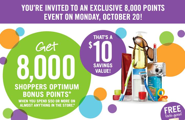 Shoppers Drug Mart Canada Printable Coupons for optimum points Shoppers Drug Mart Canada Printable Coupons: Get 8,000 Points When You Spend $50 Or More On Almost Anything, Today!