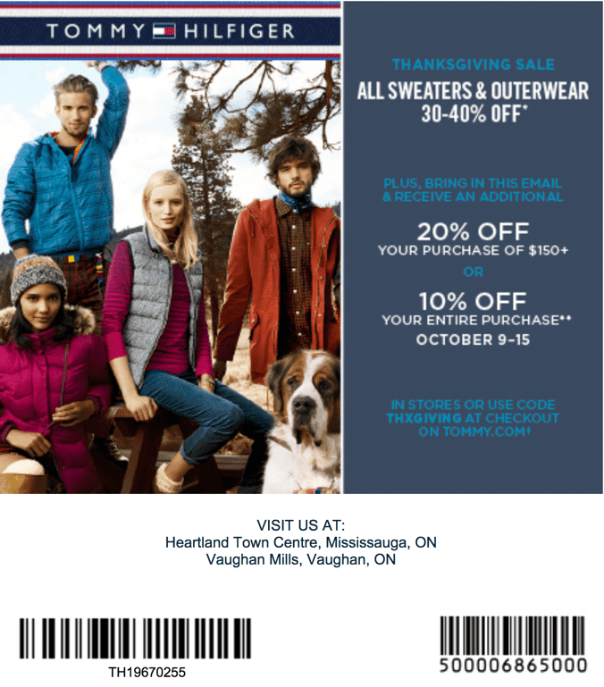 graphic regarding Tommy Hilfiger Coupon Printable called Tommy coupon codes canada / Wcco eating out discounts