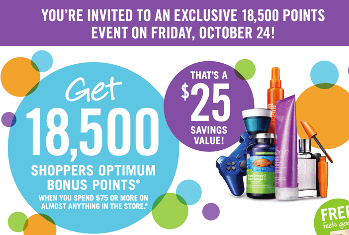 z1414001434 small Shoppers Drug Mart Canada Printable Coupons: Get 18,500 Shoppers Optimum Bonus Points on Your Purchase Of $75 On Anything In The Store