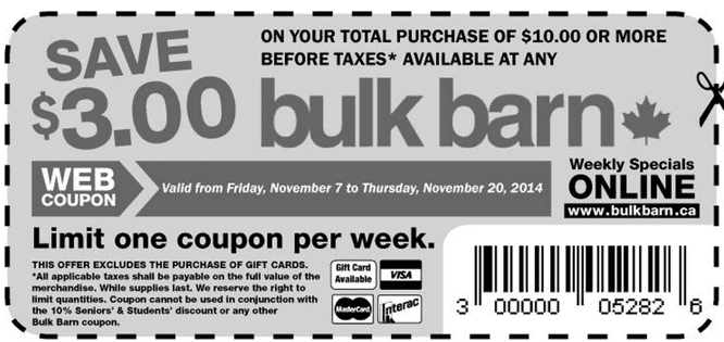 Bulk Barn Canada coupon Bulk Barn Canada Coupons: Save $3 On Your Total Purchase Of $10.00
