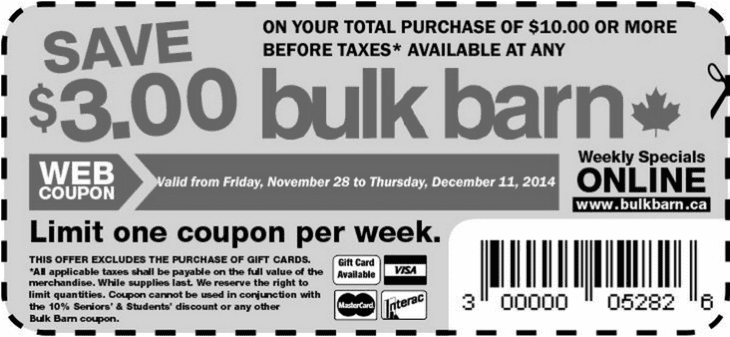 Bulk Barn Coupon 730x337 Bulk Barn Canada Coupons: Save $3 On Your Total Purchase Of $10.00
