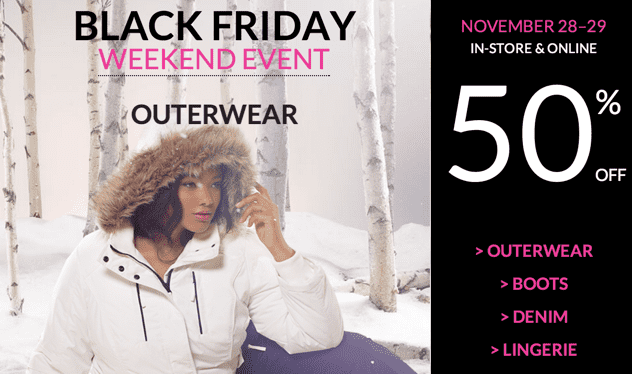 Penningtons Canada Black Friday Weekend Sale Penningtons Canada Black Friday Weekend Sale: Save 50% OFF Outerwear, Lingerie, Denim & Boots + FREE Shipping on All Orders! Live Now