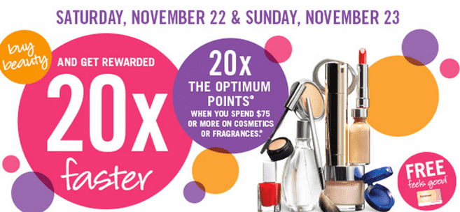 Shoppers Drug Mart Beauty Offer Shoppers Drug Mart Canada Beauty Offers: Get 20x the Optimum Points when You Spend $75 on Cosmetics, Skin Care & Fragrance!