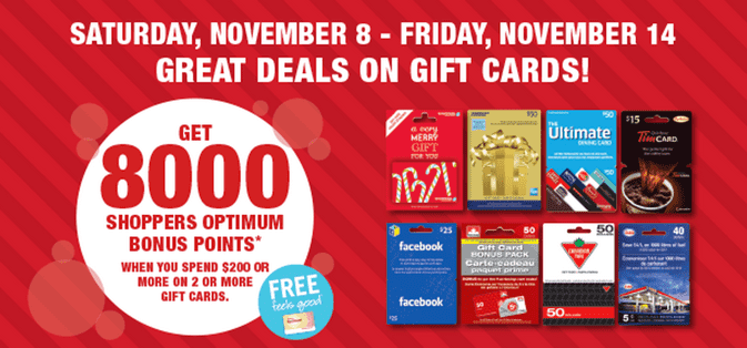 Shoppers Drug Mart Canada Holiday Seals Shoppers Drug Mart Canada Holiday Offers: Get 8,000 Optimum Bonus Points when You Spend $200 On 2 OR More Gift Cards!