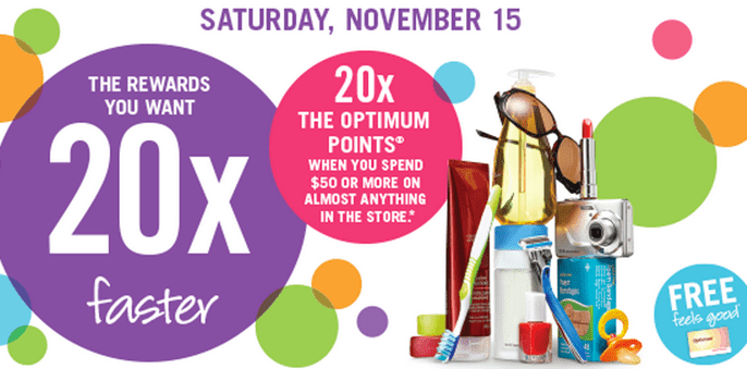 Shoppers Drug Mart Canada Offers Shoppers Drug Mart Canada Offers: Get 20X the Optimum Points when You Spend $50 Anything. This Saturday, November 15