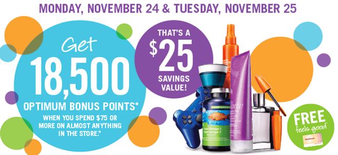 Shoppers Drug Mart Canada Offers1 Shoppers Drug Mart Canada Offers: Get 18,500 Bonus Points when You Spend $75 on Anything! That's $25 worth of FREE Stuff!