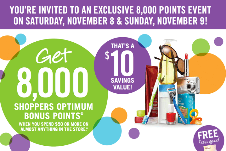 Shoppers Drug Mart Canada Printable Coupons Shoppers Drug Mart Printable Coupons: Get 8,000 Optimum Bonus Points ($10 Savings) when You Spend $50, Saturday to Sunday, November 8 9