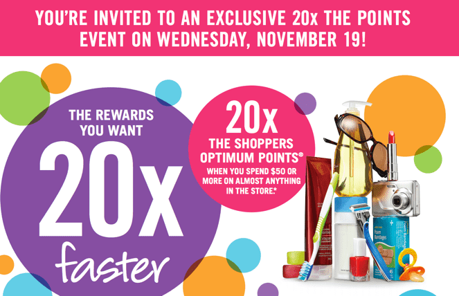 Shoppers Drug Mart Canada Printable Coupons2 Shoppers Drug Mart Canada Printable Coupons: Get 20X Your Optimum Points when You Spend $50 On Anything, Wednesday, November 19