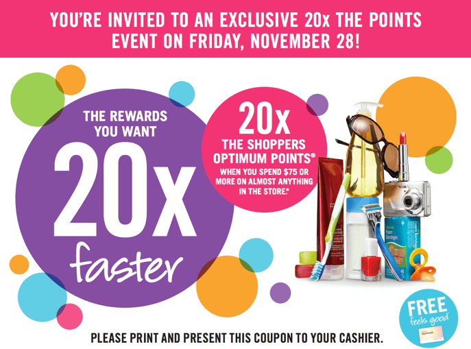 Shoppers Drug Mart Canada Printable Coupons4 Shoppers Drug Mart Canada Printable Coupons: Get 20x the Optimum Points when You Spend $75 on Anything. Friday, November 28