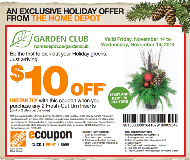 The Home Depot Garden Club Holidays Printable Coupons