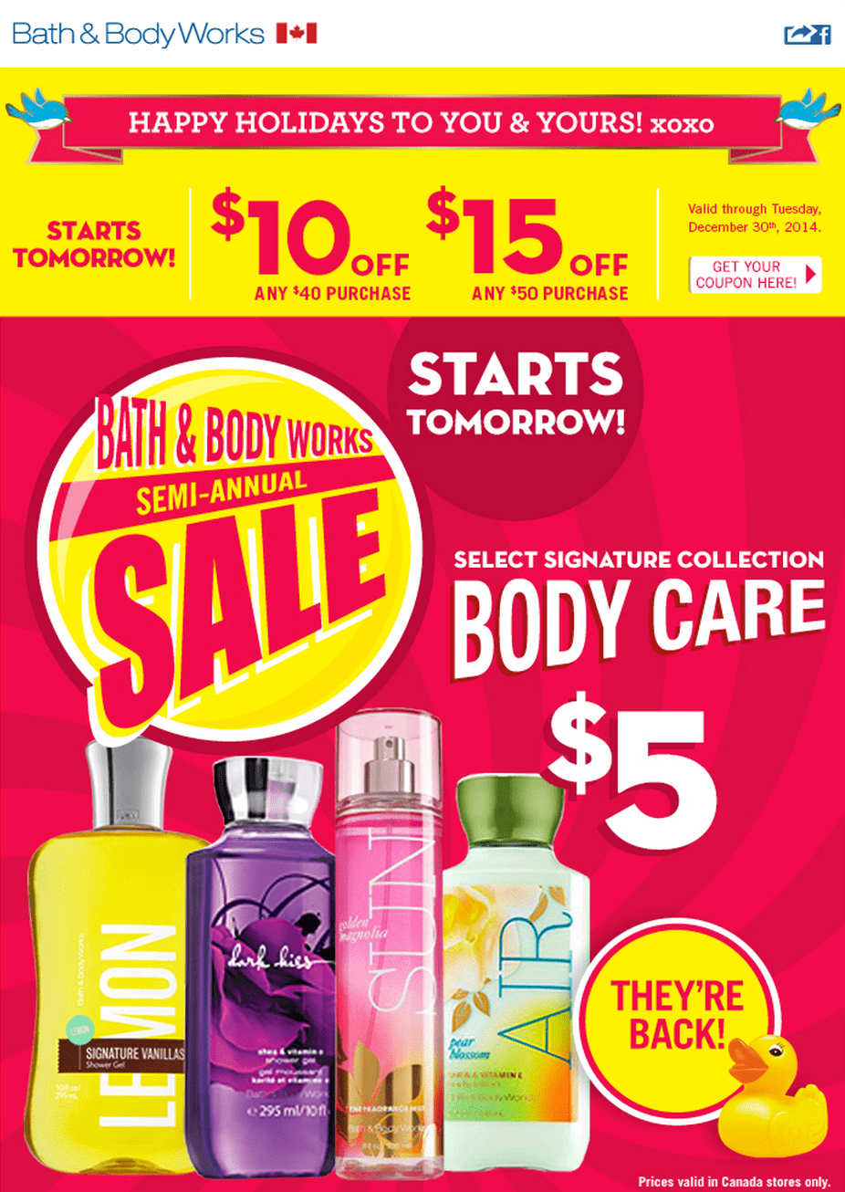 Bath and body works canada coupon