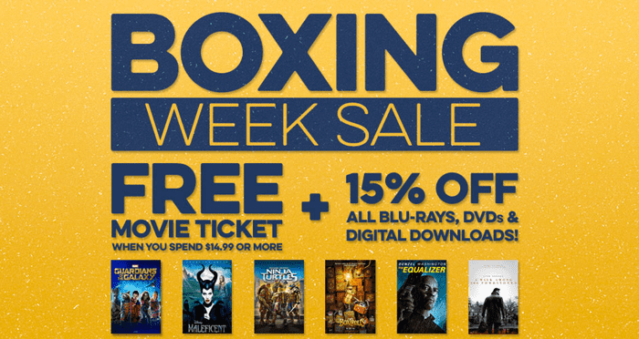 Cineplex Store Boxing Week Sale Cineplex Store Boxing Week/Day Sale 2014: FREE Movie Ticket When You spend $14.99 + Save 15% On All Blu Rays, DVDs & Digital Downloads! Live Now