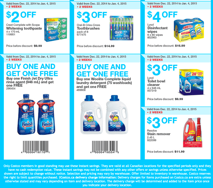 Costco Canada Wholesale warehouses in Ontario Quebec and Atlantic provinces. Costco Canada Boxing Week 2014 Handouts Coupons Flyers Instant Savings For Ontario, Quebec & Atlantic Provinces, December 22, 2014 Until January 4, 2015